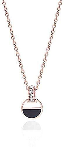 AOAOTOTQ Co.,ltd Collar Anillo de Diamantes con Incrustaciones de Oro Rosa Collar Negro Collar de Cien Oro