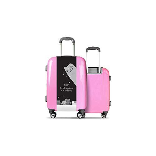 Valise CALIBAG (Taille L) Chat et Maison Rose