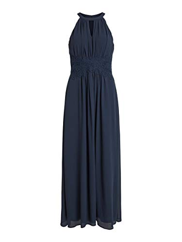 Vila Clothes Damen Vimilina Halterneck Maxi Dress - Noos Kleid, Total Eclipse, 38
