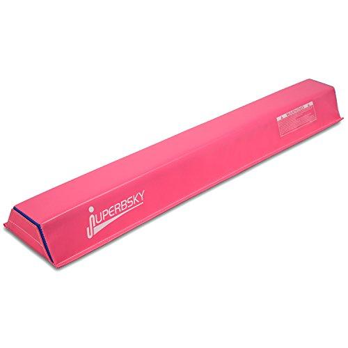 Juperbsky Balance Beam for Kid's Practice - Gymnastics Equipment for Teens Hone Skills at Home (Suede Pink 6' Long 3' High)