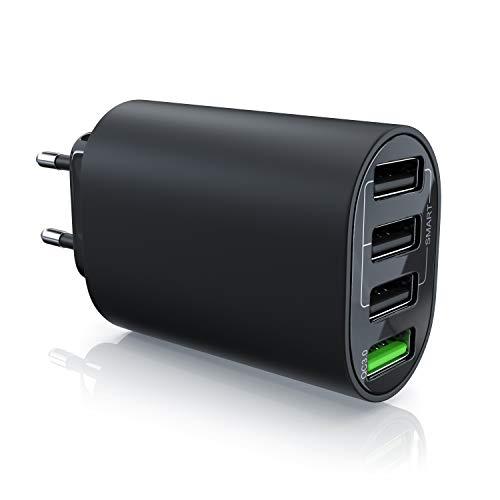 CSL - USB Ladegerät 35W QC 3.0-4 Port Netzteil inkl. Quick Charge Schnellladefunktion - Smart Charge Solid Charge intelligentes Laden - geeignet für Handys, Smartphones, Navis, Tablets UVM.