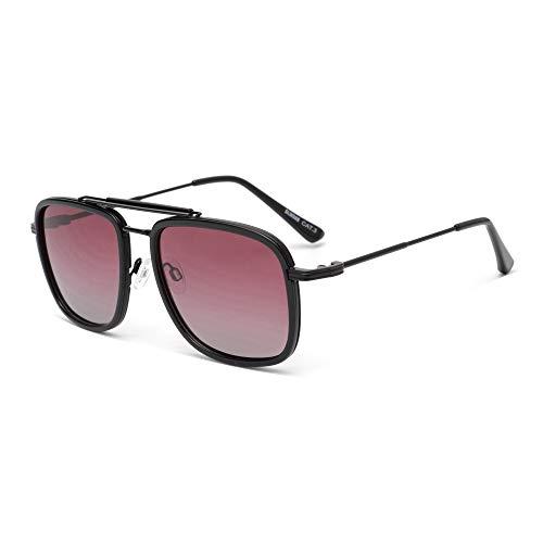 GLINDAR Gafas de Sol de Aviador Polarizadas Cuadradas Para Hombres y Mujeres con Montura de Metal de Gran Tamaño, Lentes Grdient Negro / Rojo Grdient