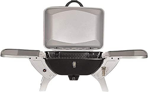 DRULINE 50mbar GASGRILL Grill BBQ Gastyp-Butan/Propan, Tischgrill Klappgrill für Festivals oder Picknick Silber/Schwarz
