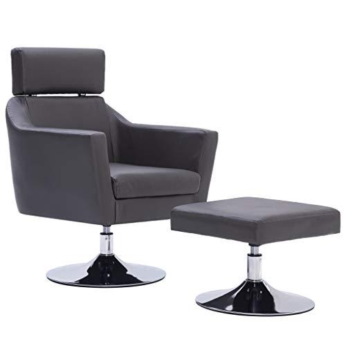 Festnight- Fernsehsessel TV Wohnzimmersessel Hocker Relaxsessel Sessel Grau Kunstleder 65 x 59 x 86 cm