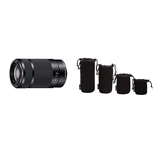 Sony SEL-55210 Tele-Zoom-Objektiv (55-210 mm, F4.5–6.3, OSS, APS-C, geeignet für A6000, A5100, A5000 und Nex Serien, E-Mount) schwarz & AmazonBasics - Wasserdichte Schutzbeutel für Kameraobjektiv