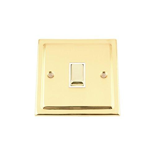 Interruptor solo 1 Gang - latón pulido - blanco dípticas Metal - interruptor basculante - 10 Amp 1 Gang 2 way