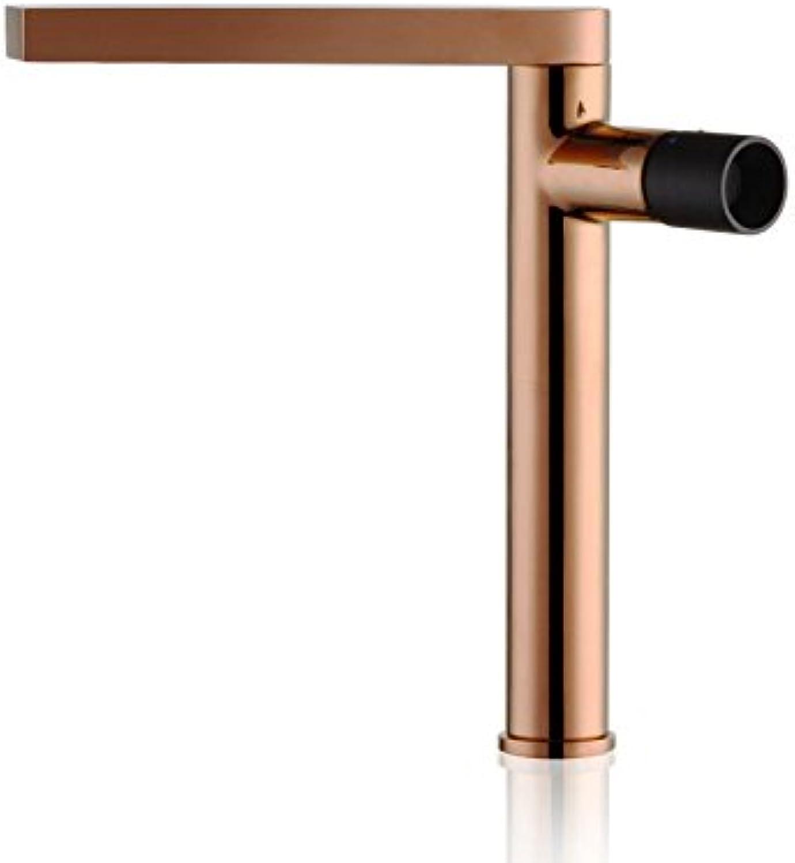 Pengei Tap Basin Mixer Kitchen Sink Mixer Faucet All-Copper Swivel pink gold Black Handle