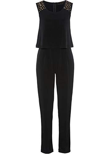 bonprix Attraktiver Jumpsuit in figurumspielender Form mit Glitzersteinen schwarz 40/42 für Damen