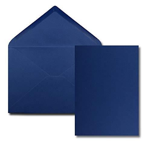 25 Stück Karte mit Umschlag Set - Einzel-Karten Din A5-14,8 x 21 cm dunkelblau mit Brief-Umschlägen Din C5-15,4 x 22 cm dunkelblau - Nassklebung