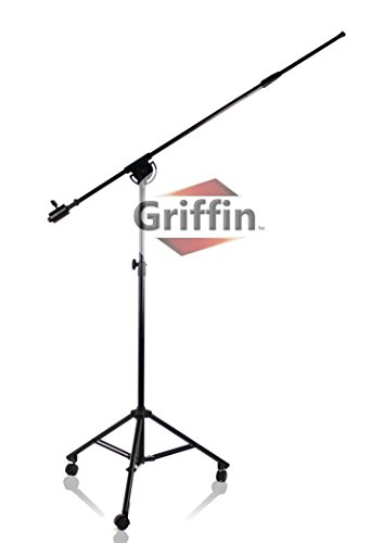 Professional Studio Rolling Microphone Boom Stand with Casters by Griffin | Heavy Duty Recording Mic Holder Tripod on Wheels|Telescoping Arm Mount & Retractable Legs for Vocals, Choir, Overhead Drums