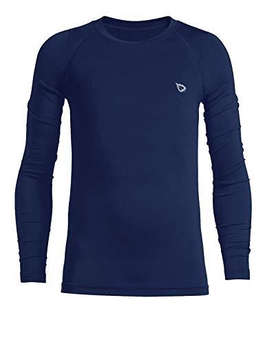 BALEAF Youth Boys'/Girls' Thermal Compression Sports Shirts Long Sleeve Fleece Base Layer Crew Neck Navy Size XL