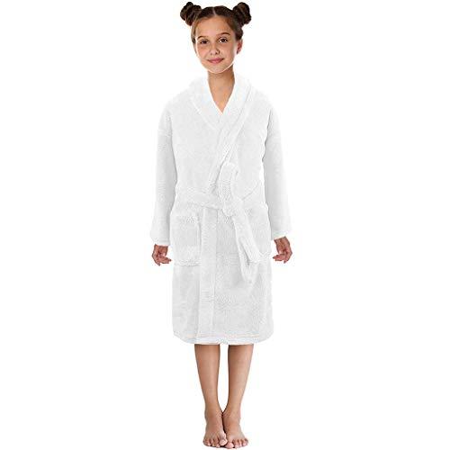 KEERADS Peignoir pour Enfants Petit Garçon Fille avec Capuche 100% Coton Robe de Chambre Serviette Doux Éponge de Coton 7-13 Ans (Large,Blanc)