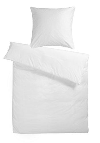 Carpe Sonno kuschelige Biber Bettwäsche 135 x 200 cm einfarbig weiße Winterbettwäsche mit Reißverschluss aus 100% Baumwolle Flanell - 2-TLG Bettwäsche Set mit Kopfkissen-Bezug
