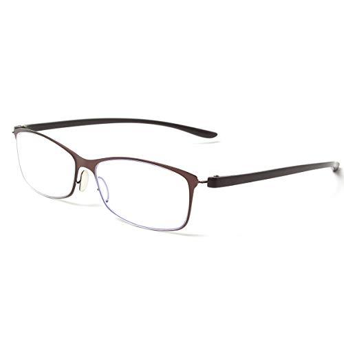 MIDI-ミディ ブルーライトカット 老眼鏡 UVカット メタルフレーム ビジネスシーンにマッチする シャープ リーディンググラス メンズ ダークブラウン&ブロンズ レンズ度数+1.50 (m317,c2,+1.50)