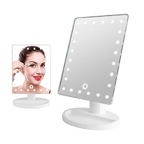 Cikonielf 10 x Kosmetikspiegel mit USB-Aufladung, 20 LEDs, Vergrößerungsspiegel für Make-up, mit Licht, 180 ° drehbar, dimmbar, Touchscreen, 26,5 x 17 x 13 cm, Weiß