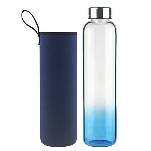 DEARRAY Botella de Agua de Cristal de Borosilicato Deportivo 500ml, Botella de Agua de Vidrio con Funda de Neopreno y Elegante Tapa de Acero Inoxidable