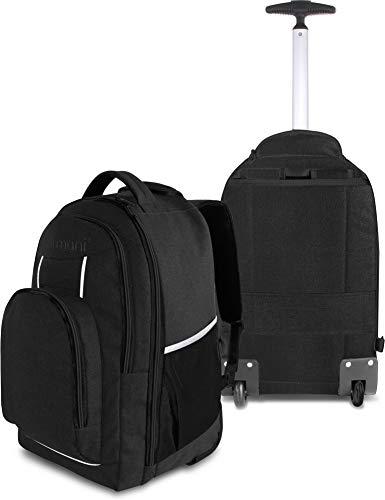 normani Rucksack mit Trolleyfunktion - 30 Liter Volumen Rucksacktrolley zum ziehen mit Laptopfach für Schule, Uni, Reisen, Ausflüge oder Einkaufen Farbe Schwarz mit Reflektoren