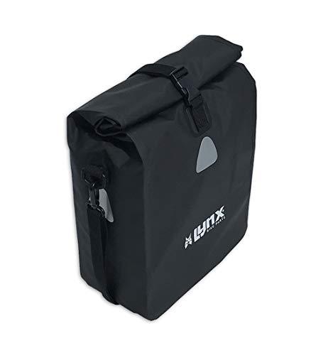 Fahrradtasche für Gepäckträger Wasserdicht | Schwarze/Rote PVC Packtasche für E-Bike & Fahrrad/Mountainbike | mit Schultergurt | Wasserfest, Sicher & Faltbar (16 Liter, Schwarz)