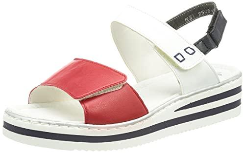 Rieker Mujer Sandalias de Vestir V02S7, señora Sandalias de cuña,Zapatos del Verano,cómodo,Plana,Rosso,40 EU / 6,5 UK