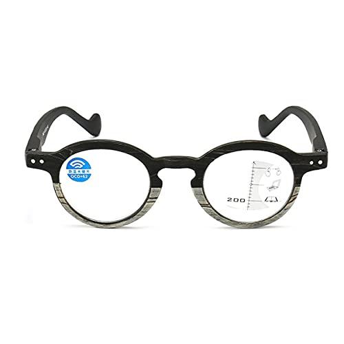 HAOXUAN Nuevas Gafas de Lectura de Grano de Madera Vintage, progresivas multifocales para Hombres y Mujeres, Anti-luz Azul, Gafas de Alta definición, dioptrías +1,00 a +3,00,Negro,+2.50