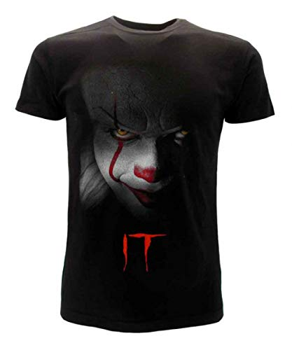 Clown IT T-Shirt Schwarzes T-Shirt Gesicht des Offiziellen Clowns Original Stephen King Film 2019 (Large)
