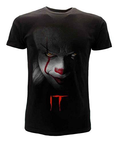 Clown IT T-Shirt Schwarzes T-Shirt Gesicht des Offiziellen Clowns Original Stephen King Film 2019 (SMALL)
