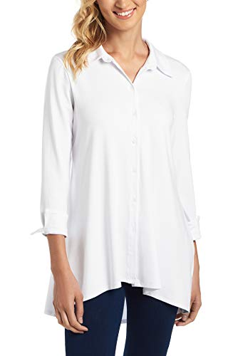 Cupio Womens Apparel Long Sleeve Collared Button Down Tunic with High-Low Hem White