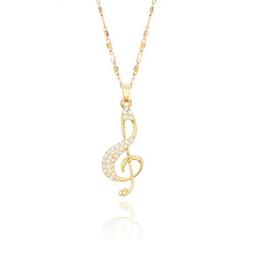 JinHan Musical Notes Necklace for Women Girls Cubic Zircon Crystal Inlay Charming and Dazzling Fashion Jewelry to Friend Birthday Silver/Gold Plated