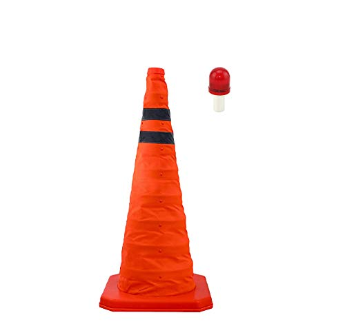 28'' Collapsible Traffic Cone with LED Light Lamp Topper, Reflective Multi-Purpose Extendable Road Safety Cone by LifeSupplyUSA