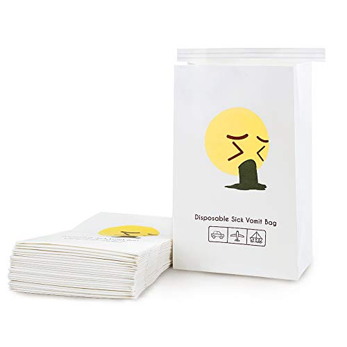 Emoji 25 Pack of Kids Protable Disposable Biodegradable Paper Barf Vomit Puke Bag for Montion Car Morning Hangover Sickness Great for Travel Taxi Airline Driver Nausea Pregnancy Cancer Patients