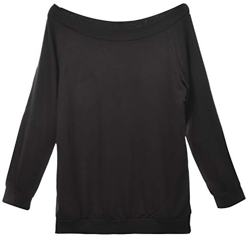 Yuson Girl Casual CamisetasMangaLargaMujer CamisaMujer Fuera del Hombro RopadeMujer Sexy Suelto Mujer Ocasionales Flojas Atractiva Elegante Moda (Negro,S)