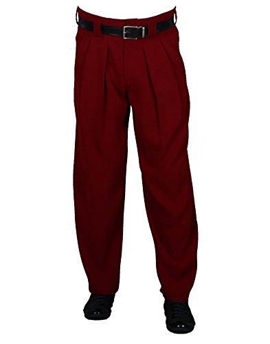 H K Mandel Herren Hose mit Bundfalten in Weinrot leichte lockere Stoffhose aus Microfaser mit Extraweit geschnittene Beine Retro Stil Model Boogie Größe 60