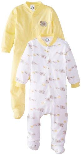 Gerber Unisex-Baby Newborn 2 Pack Sleep N Play - Elephant, Yellow, 0-3 Months