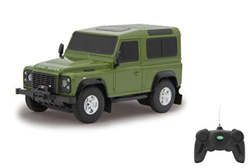 Jamara- Land Rover Defender Giocattolo Telecomandato, Scala 1:24, Colore Verde, 405154