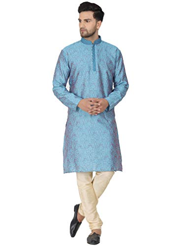SKAVIJ Seda Fiesta Kurta Pijama (Camisa Larga y Pantalón) para Hombre (Turquesa, Medium)