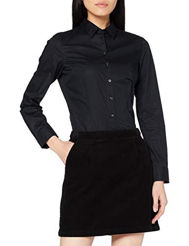 Seidensticker Damen Regular Fit Bluse Hemdbluse Langarm Regular Fit Uni Bügelfrei, Schwarz (Schwarz 39), 38 (Herstellergröße: 38)