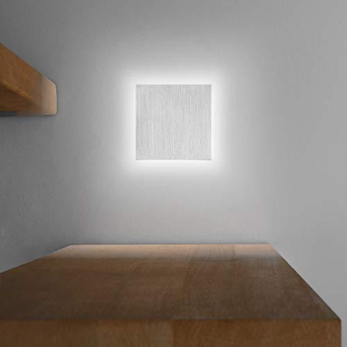 LED Treppenbeleuchtung aus Aluminium und Plexiglas für Schalterdoseneinbau 68mm - Quadratisch - Eckig - Kaltweiß 6500k [Stufenbeleuchtung - Wandbeleuchtung - indirekt]