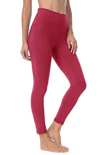 QUEENIEKE Polainas de Yoga para Mujeres Nueve Pantalones Medios de Correr Power Flex de Alta Cintura para Gimnasio Color Rojo Vino Tamaño S