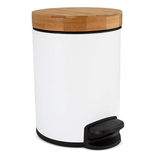 Cubo de baño de diseño 5L | Tapa de Madera de bambú con Sistema de Cierre automático | Cubo con cómodo Pedal antihuellas | Blanco
