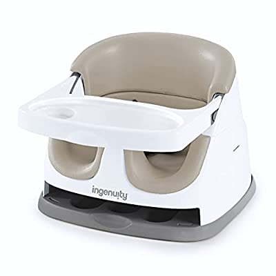 Ingenuity Baby Base 2-in-1 Booster Feeding and Floor Seat with Self-Storing Tray - Cashmere by AmazonUs/KII41
