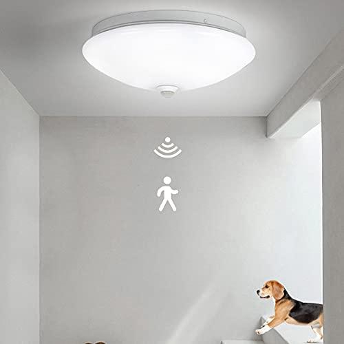 Lámpara de Techo con Detector de Movimiento Luz de Techo LED para Interiores Luces de Baño Redondas IP54 Impermeable 8W Moderna Lámpara de Techo para Pasillo, Balcón, Dormitorio Ø23cm
