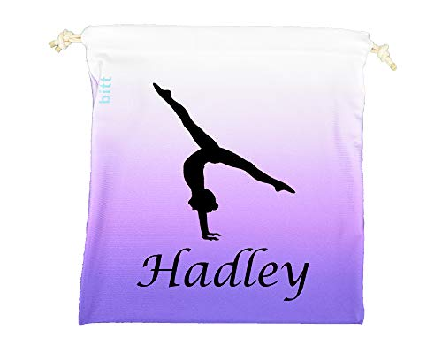 Personalized Gymnastics Grip Bag with Split Handstand in Ombre Colors - Customized Bag with Swarovski Crystals Option (Purple Ombre)