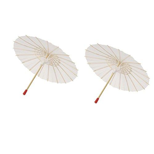 BESTOYARD - Sombrilla de Papel, 2 Piezas, Color Blanco, Paraguas de Papel Chino japonés, Paraguas para decoración de Boda (tamaño 22)