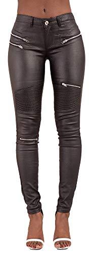 Lusty Chic Hochwertige Damenhosen, Glatte Damen Hose, Frauen Kunstlederhose, PU Lederhose Jean (36, Biker-Style)