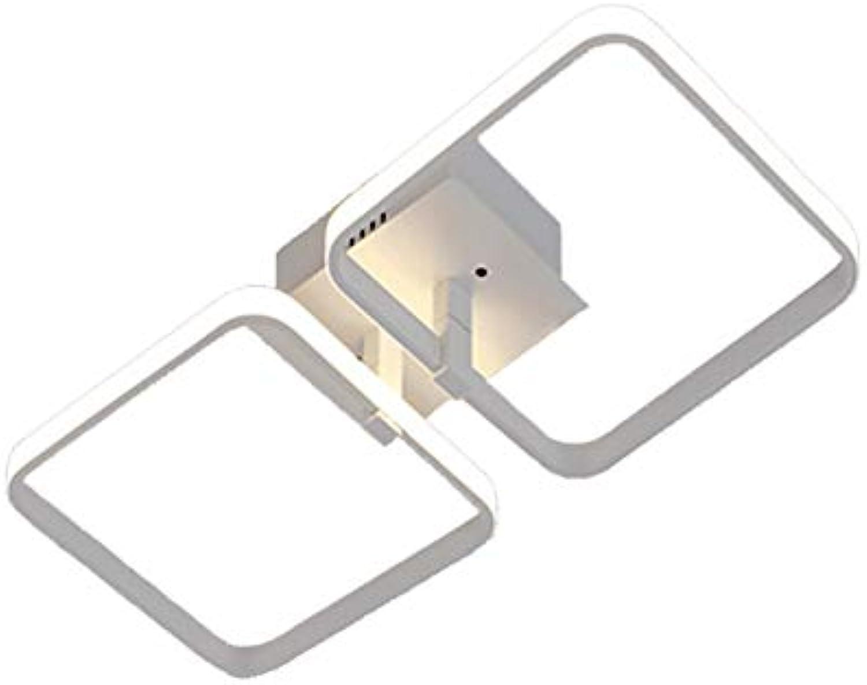 VinDeng Moderne LED Deckenleuchte, 30W Deckenlampe Quadratische Einfache Wei Aluminium Kronleuchter Wohnzimmer Schlafzimmer Esszimmer-2 Licht Neutrales Licht