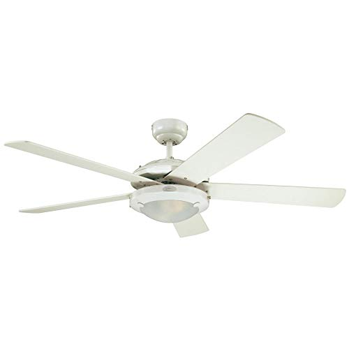Westinghouse Lighting 7233600 Comet Indoor Ceiling Fan with Light, White