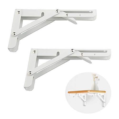 2 Stück Klappkonsole Regalträger Regalwinkel Schwerlastträger Stahl weiß beschichtet Rostfreier Stahl für Tische, Bänke und Regale, Tragkraft: 200 kg (8 zoll)