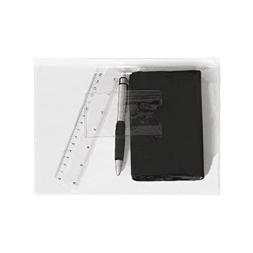 Pasta Zíper Slide com Porta Cartão - A5 - PVC - Transparente BRANCO