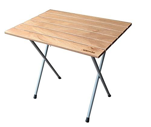 CASTELMERLINO 700 Tavolo Bistrò gambe pieghevoli smontabili piano in Compensato Marino di Okumè gambe verniciate a polveri epossidiche, cm 80 x 60, Naturale