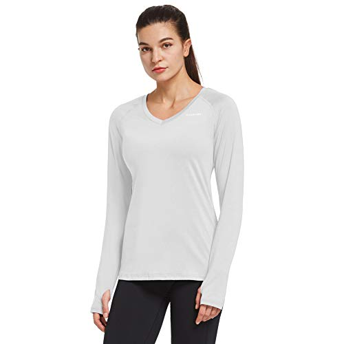 Ogeenier Mujer Camiseta Deportiva de Manga Larga Sin Etiqueta Camisetas de Secado Rápido para Running Fitness Ejercicio